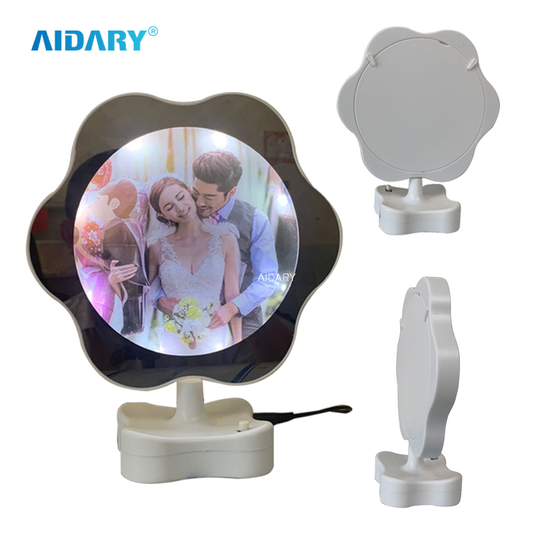ABS USB Charging Wedding Children's Personal LED Light Gift Home Plum-shaped Magic Mirror Photo Frame
