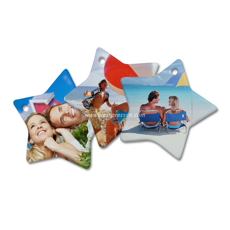 Star Shape Sublimation Ceramic Pendent with Rope CP-SR