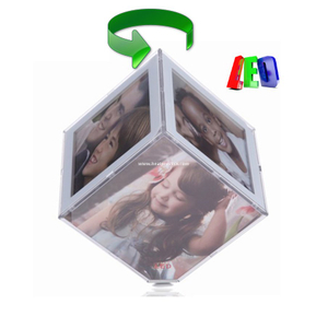 Small Cube Rotating Photo Frame with LED Light