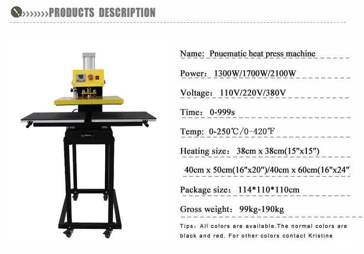 Double Working Tables Moving Heat Press Machine Pneumatic Transfer Press Machine B3